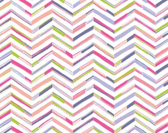 Sundaland Jungle - Tenun Chevron in Pink by Katy Tanis for Blend Fabrics