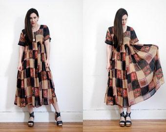 Vintage Indian Gauze Cotton Boho Dress Hippie Dress Ethnic Floral Gauze Cotton Dress 70s