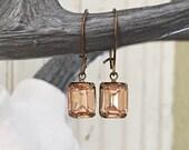 Vintage Crystal Earrings PINK CHAMPAGNE