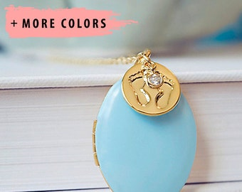 Stamped Baby Feet Charm Necklace - Large Gold Oval Locket Pendant