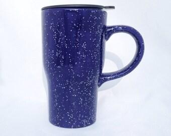Ceramic Travel Mug with Lid - Blue and White - Coffee Mug Pottery