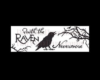 Raven Cross Stitch, Edgar Allan Poe, Quoth the Raven Nevermore , Poe Cross Stitch, Crows, Birds Silhouettes from NewYorkNeedleworks on Etsy