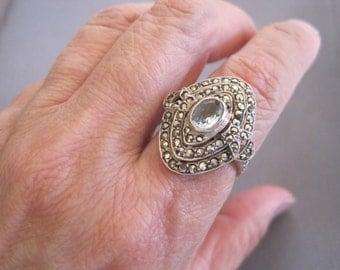 Vintage Sterling Marcasite Topaz Ring