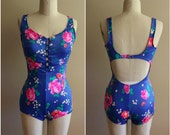80's does 50's Vintage Floral Print Boy Short One Piece Bathing Suit - Size 12 - Vacation - Beach - Resort
