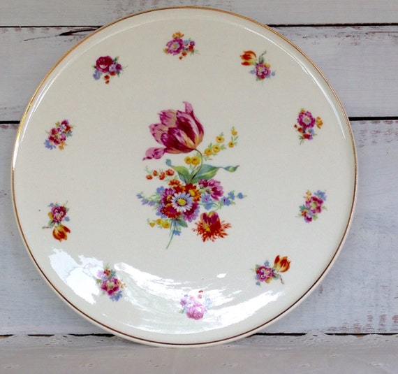 Vintage 1930 s Erphila German Art Pottery Floral Cake