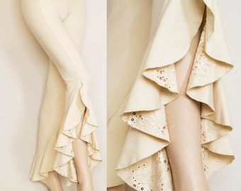 Cream Bamboo Ruffle Pants with Lace and Gold Sequins