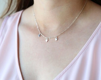 Mini Row of Modern Sterling Silver Triangles // Modern Everyday Layering Necklace