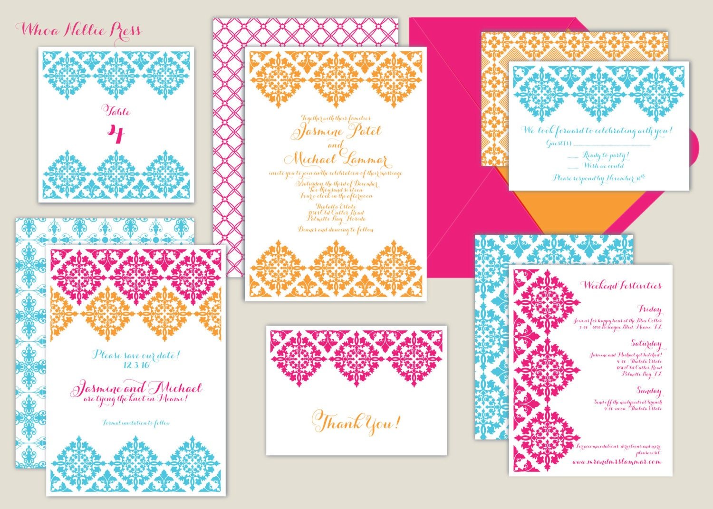 Wedding Invitations Spanish: Colorful Spanish Tiles Wedding Invitation Fiesta Mexican