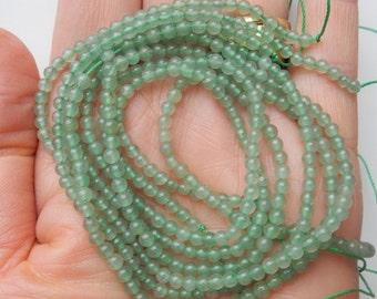 3mm Green Aventurine smooth round beads , Full strand (16 inches)