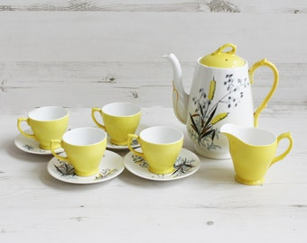 Vintage Teacup Set - Windsor Yellow floral Cup saucer creamer Kitchenware Pottery Wheat Display