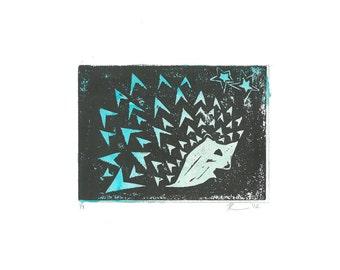 Blue Hedgehog Fine Art Giclee Print
