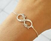 Infinity Name Bracelet, Date Bracelet, Couple Bracelet, Wedding Gift, Sterling Silver, Gift For Wife, Mothers Day Gift, Custom Name, Memory