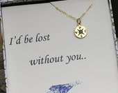 Compass Necklace, Travelers Necklace, Valentines Day Gift, Best Friend Gift, Gold Compass, Wife Gift, Couple, Birthday Gift, Charm Necklace