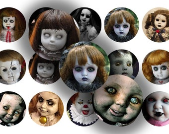 Creepy Dolls1 inch bottle cap circle images