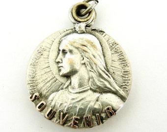 Antique French Slide mirror locket Joan of Arc art nouveau round medallion pendant