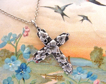 Sterling silver cross with ivy leaves art nouveau style