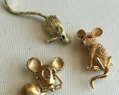 Three Vintage Mouse Pins for Amands