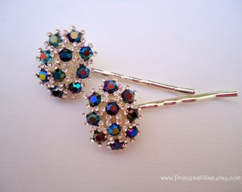 Vintage earring hair pins - Sparkly sapphire blue aurora borealis and clear rhinestones studded clusters decorative jeweled hair accessories