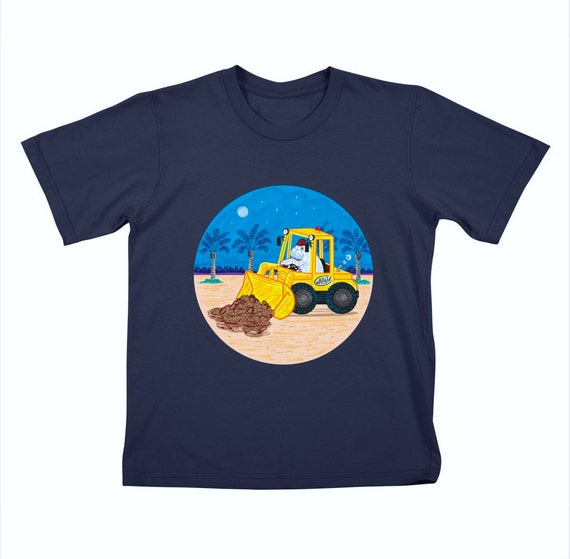 WALDOZER - Childrens - Walrus and Buldozer - Navy T-shirt / Tee by Oliver Lake - iOTA iLLUSTRATION