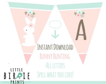 BUNNY First Birthday Bunny Baby Shower Bunting banner - Spell what you like - Invitation to match in my shop Some Bunny Is turning One Pink
