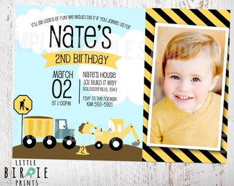 CONSTRUCTION INVITATION Constructon Birthday Party Invitation Construction Invitation Bulldozer Dump Truck Digger Trucks Invitation