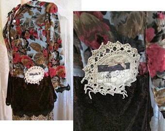 Hippie Velvet Shirt, stretchy velvet, floral velvet, paisley velvet, womens clothes MEDIUM