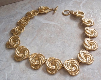 Anne Klein Necklace Heavy Gold Tone Twist Trefoil Knot Lion Tag Vintage V0878