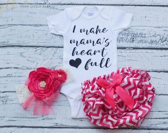 Baby Girl Bodysuit/I Make Mama's Heart Full/Baby Girl Shirt/Baby Shirt/Girls Top/Girls Shirt/Girls T-shirt/Vinyl Shirt