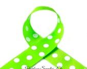 Apple Green with White Polka Dots 1-1/2 inch Polka Dot Grosgrain - Polka Dot Ribbon, Polka Dot Hair Bow, Polka Dot Bow, Ribbon By The Yard
