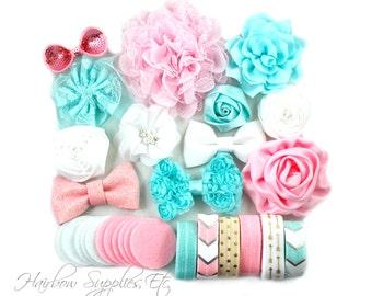 Light Pink, Mint, and White Headband Kit - Makes 12 Headbands - Baby Shower Station, Baby Headbands, DIY Headbands, Headband Kit Baby Shower