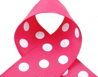 Shocking Pink Polka Dots 1-1/2 inch Polka Dot Grosgrain Ribbon - Polka Dot Ribbon, Polka Dot Hair Bow, Polka Dot Bow, Ribbon By The Yard