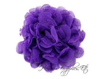 Purple Petite Lace Chiffon Flowers 3.5 inch - Purple Shabby Flowers, Purple Fabric Flower, Purple Chiffon Flower, Purple Flowers for hair