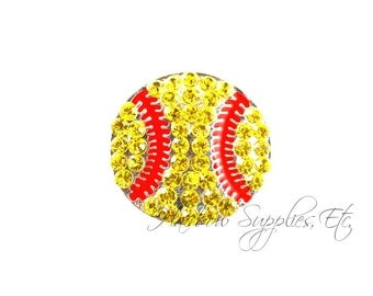 Softball Rhinestone Buttons 22 mm Acrylic - Hairbow Supplies, Etc.