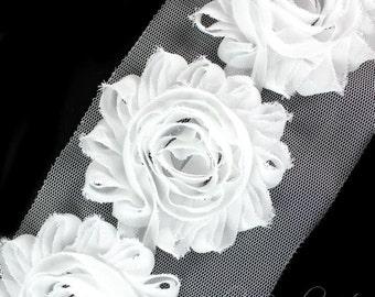 White Shabby Flowers 2-1/2 inches - White Shabby Rose Trim, Shabby Flowers by the Yard, Shabby Flowers Wholesale, Shabby Rose, Chiffon Trim