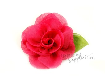 Hot Pink Candlelight Rose Chiffon Flower - 2 inch - Hairbow Supplies, Etc.