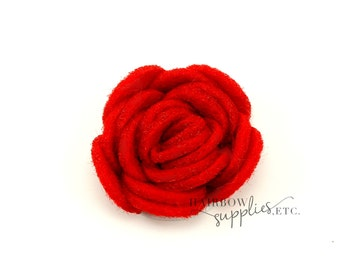 Red Felt Roses Small 1-1/4 inch-Red Felt Flowers, Red Felt Flower Headband, Red Felt Flower Clip, Red Felt Flower Hair Clip, Red Felt Flower