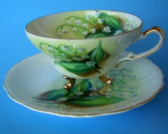 Vintage Tea Cup & Saucer - Fine China Hand Painted LILY of the VALLEY with Gold Accents