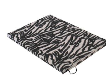 Handbound hardcover journal, upcycled, okapi, black, white stripe 80 sheet, college rule