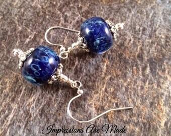 Lampwork Earrings, Boro Earrings, Blue Earrings, Beadwork Earrings, Glass Earrings, Lampwork Bead Earrings, Dark Blue Earrings