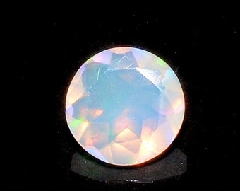 55% ON SALE Ethiopian Opal, Faceted Opal, Cut Stone, Faceted Round Cabochon, Fire Opal, 0.85CTW, 7mm  - O/18