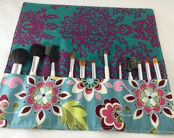 Blue Makeup Brush Roll - Makeup Brush Organizer - Make Up Brush Holder - Riley Blake Botanique Flowers Teal