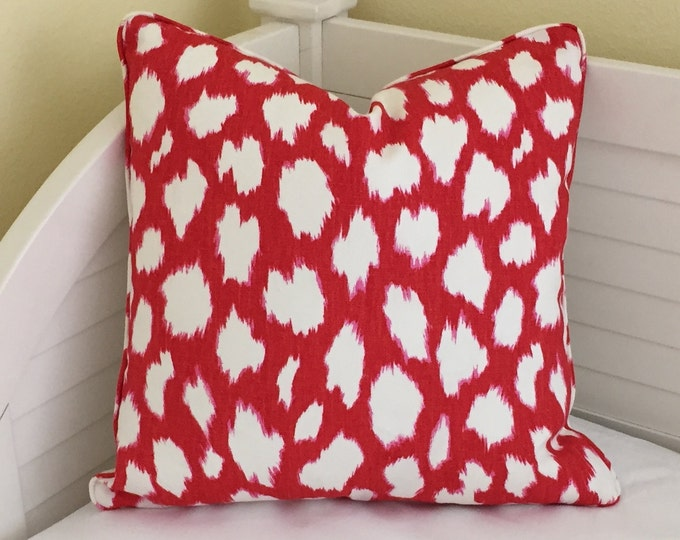 Kravet Leokat Leopard Print in Maraschino Red and White Designer Pillow Cover with Piping - Square, Lumbar and Euro Sizes