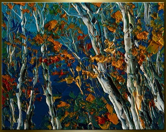 Birch Tree Forest Autumn Landscape Painting Oil on Canvas Textured Palette Knife Modern Original Art 8X10 by Willson Lau