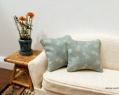 Dusty teal pineapple pillows - set of two - dollhouse miniature