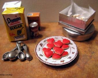 One dozen gourmet frosted Heart cookies - dollhouse miniature