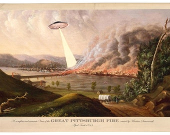 Pittsburgh, Digital Print, UFO, Pittsburgh Skyline, UFO Art, Pittsburgh Art, Alternate Histories, Geekery, Pittsburgh Vintage, Sci Fi