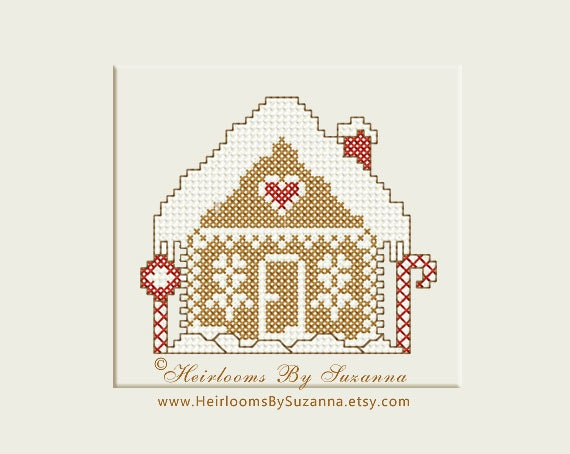 Gingerbread house machine cross stitch by heirloomsbysuzanna