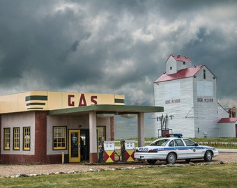 The Corner Gas Station and Grain Elevator from the Canadian TV Show in Dog River Rouleau Saskatchewan Canada No.3656 - A Fine Art Photograph