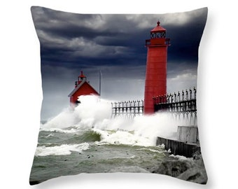 Grand Haven Lighthouse, Throw Pillow, Custom Pillow, Lake Storm, Michigan Seascape, decorative novelty pillow, Home Décor, cushion cover