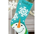Handmade Embroidered Felt Appliqued Christmas Stockings-Catching Snowflakes-Bright Ornaments-HoHoHo-FaLaLaBirds